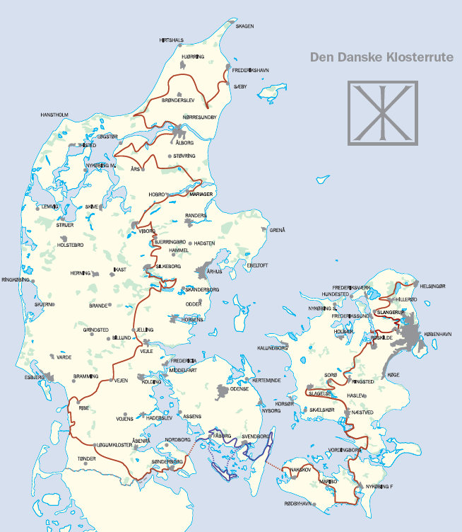 Den Danske Klosterrute kort 2015 Fyn